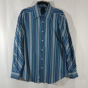 Claiborne Blue Stripe Button Down Dress Shirt
